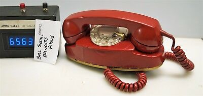 #6563 Bell System RED Princess phone NICE!