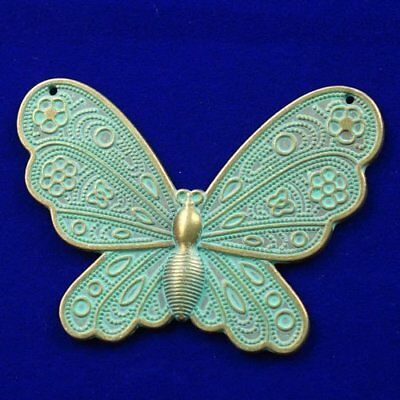Carved Brass Bronze Butterfly Pendant Bead 60x43x2mm M51150