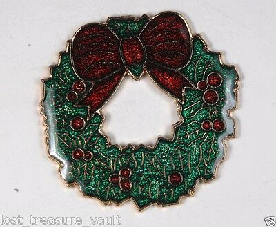 Vintage Gold Tone Enamel Wreath Christmas Finding