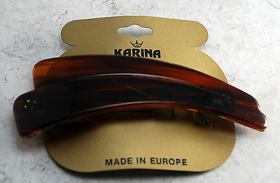 Vintage Hair Barrette Tortoise Brown Plastic Ridged Wave Made in France NOC