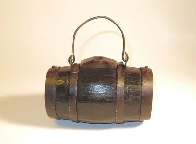 Nice 18Th Century Wood And Iron Powder Barrel