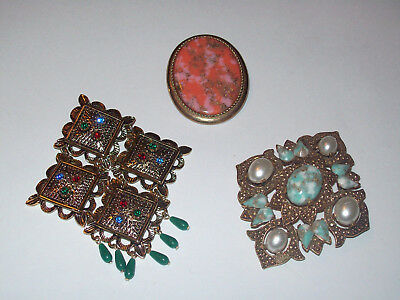 3 Piece Vintage Sarah Coventry Colorful Mixed Brooch Lot - Coraline, Temple Lite