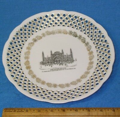 """1915 PANAMA PACIFIC PPIE 9.7"""" Porcelain Plate Reticulated HORTICULTURAL BUILDING"""