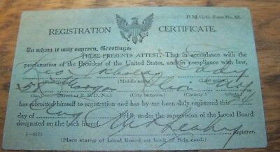 1918 Wwi Gi Soldier Draft Registration Card Herkimer County Little Falls Ny