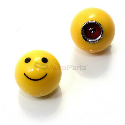 (2) SMILE BALL Tire/Wheel Stem VALVE CAPS yellow smiley for BIKE MOTORCYCLE