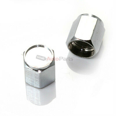 (2) CHROME silver Tire/Wheel stem VALVE CAPS COVERS for Motorcycle/Chopper/Bike