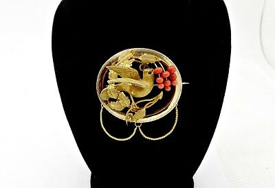 Fine Victorian 14K Solid Gold Figural Dove On A Branch W/coral Berrys Pin Brooch