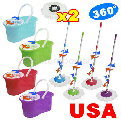 360° Rotating Head Easy Magic Floor Mop Bucket + 2x Head Microfiber Spinning USA