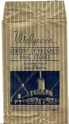Rare 1934 Chicago World's Fair WALGREEN DRUG STORE PAPER BAG Hall of Science