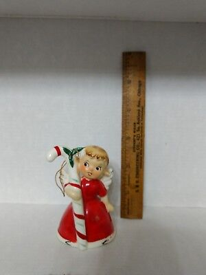 """Vintage Christmas Angel Candy Cane Girl Bell Japan 3"""""""