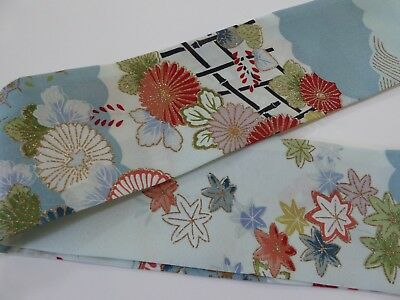 "Japanese Obi Sash Belt Silk Kimono Fabric Floral Pattern Blue 53"" x 3.5"""