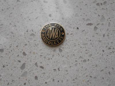 Vintage AWA The Fisk Radiolette badge new old stock radio radios valve