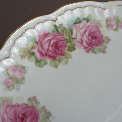 Antique Porcelain Cabinet Plate Wreath of PINK ROSES * J & C Jaeger & Co Germany