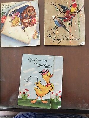 Vintage Greeting Cards X 3. Christmas & Fathers Day. 1950s