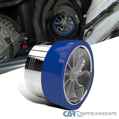 """3"""" Air Intake Supercharger Fuel Saver Turbo Turbine Fan+Blue Rubber Holder"""