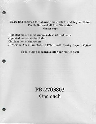 1999 Union Pacific Railroad all area Timetable Master Copy PB-2703803