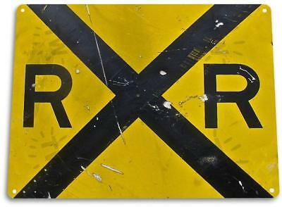 """Rail Road"" Metal Decor Station Tracks Street Crossing Shop Garage Sign"