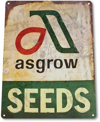 Asgrow Seeds Vintage Rustic Retro Tin Metal Sign