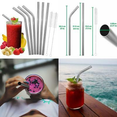 Wide Stainless Steel Smoothie Straws Set and Cleaning Brushes - Includes 3...