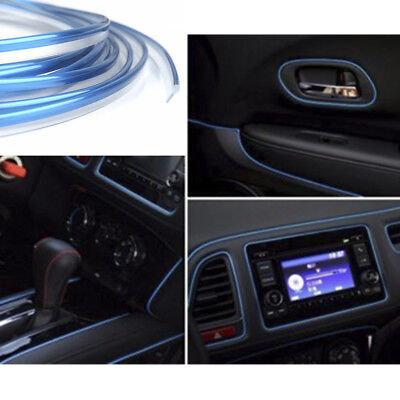5M Universal AUTO ACCESSORIES CAR Interior Gap Decorative Blue Line CHROME Shiny