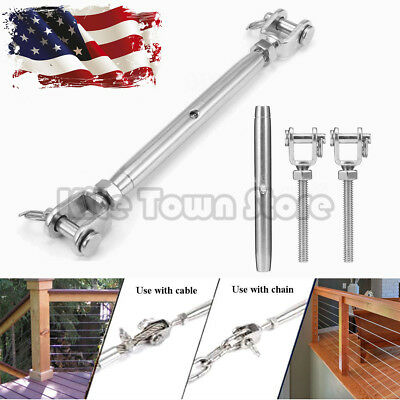 "1/4"" T316 Marine Grade Stainless Steel Jaw/Jaw Closed Body Turnbuckle US"