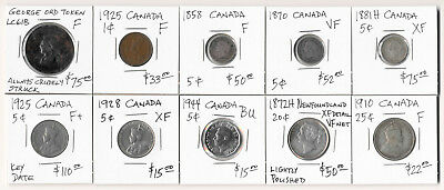 10 CANADA COLLECTIBLE COINS & TOKEN (CV almost $500) MUST SEE >>  NO RESERVE