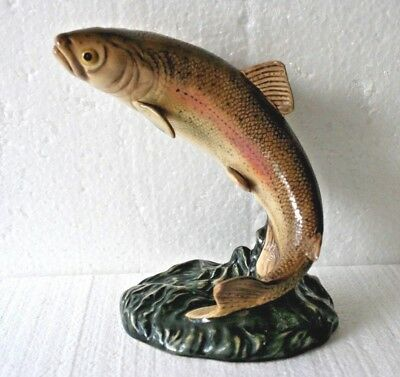 Vintage Gloss Leaping Trout By Beswick (1032) 7'' (18 1/2cm) Tall Appx