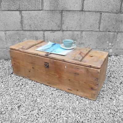 Rustic Pine Chest Trunk Coffee Table Old 1940s Storage Tools Box