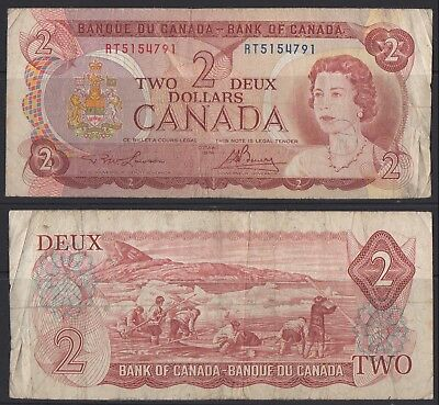 CANADA - 1 x $2 NOTE - USED - LAWSON / BANEY - RT5154791