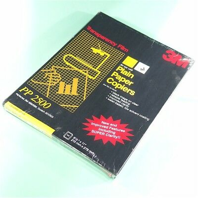 "NEW 3M PP2500 100 Sheets 8-1/2""x11"" Transparency Film for Plain Paper Copiers"