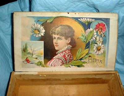 antique WOOD Cigar BOX BERTA LADY MICHIGAN 1883