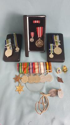 Aust Gp 8 Medals WWII ASM (JAP/NW PAC) Aust Defence Medal, Miniatures, Dog Tags