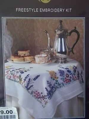 "Embroidery Kit "" Spring Flowers Tablecloth"" New by Anchor  31.5"" x 31.5"""