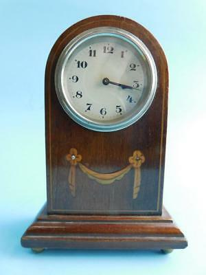 Charming Edwardian Federation Era Mantle Clock Inlaid Parquetry Case 1900s