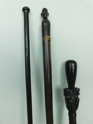 AUC3 3x Tribal Oceanic Art Polynesian Melanesian Carved Walking Stick Canes 1900