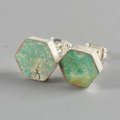 8mm Hexagon Natural Genuine Turquoise Stud Earrings Silver Plated H120661