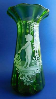 Antique Mary Gregroy Green Fluted Glass Vase Enamelled Boy Cap in Hands 1900s