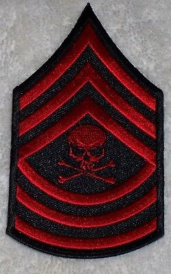 Master Sergeant With Skull Red Embroidered Biker Patch
