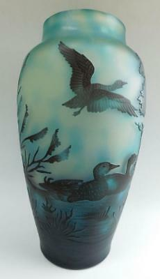 Stunning French Hand Cut Cameo Art Glass Vase Ducks in Landscape c1900s