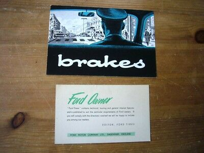 Ford brakes leaflet & Ford Times subscription slip, 1958, very rare, near-mint