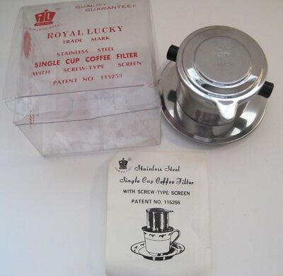 Vintage Royal Lucky Stainless Steel Single Cup Coffee Filter Camping Travel