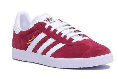 Adidas Gazelle Mens Suede Leather Lace Up Trainers In Maroon Size UK 6 - 12