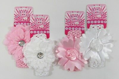 Girls Baby Infant Headband Floral Flower Pink White Frilly Elastic Soft Lace 012