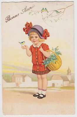 New Year Greetings Girl, with basket of Flowers and Bird on Hand, G.Used 1923