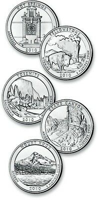 2010 P OR D 5 American Beautiful National Park quarters from the U.S. Mint Coins