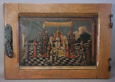 Ca.1900 Antique MEDIEVAL KNIGHT & KING Oil PAINTING on ARTS & CRAFTS Hutch DOOR
