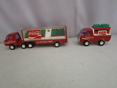 Vintage Lot of (2) 1980s BUDDY L COCA-COLA TRUCKS WITH REMOVABLE BOTTLES