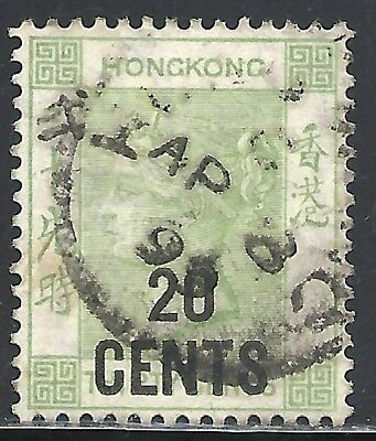 HONG KONG SCOTT 61 USED VF (D) - 1891 20c on 30c YELLOW GREEN - QUEEN VICTORIA