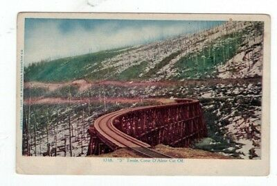"ID Idaho antique railroad train emb post card ""S"" Trestle Coeur D'Alene Cut-Off"