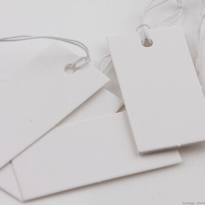 100PCS Rectangle Price Tags Label With Elastic String Jewelry DIY Display Card